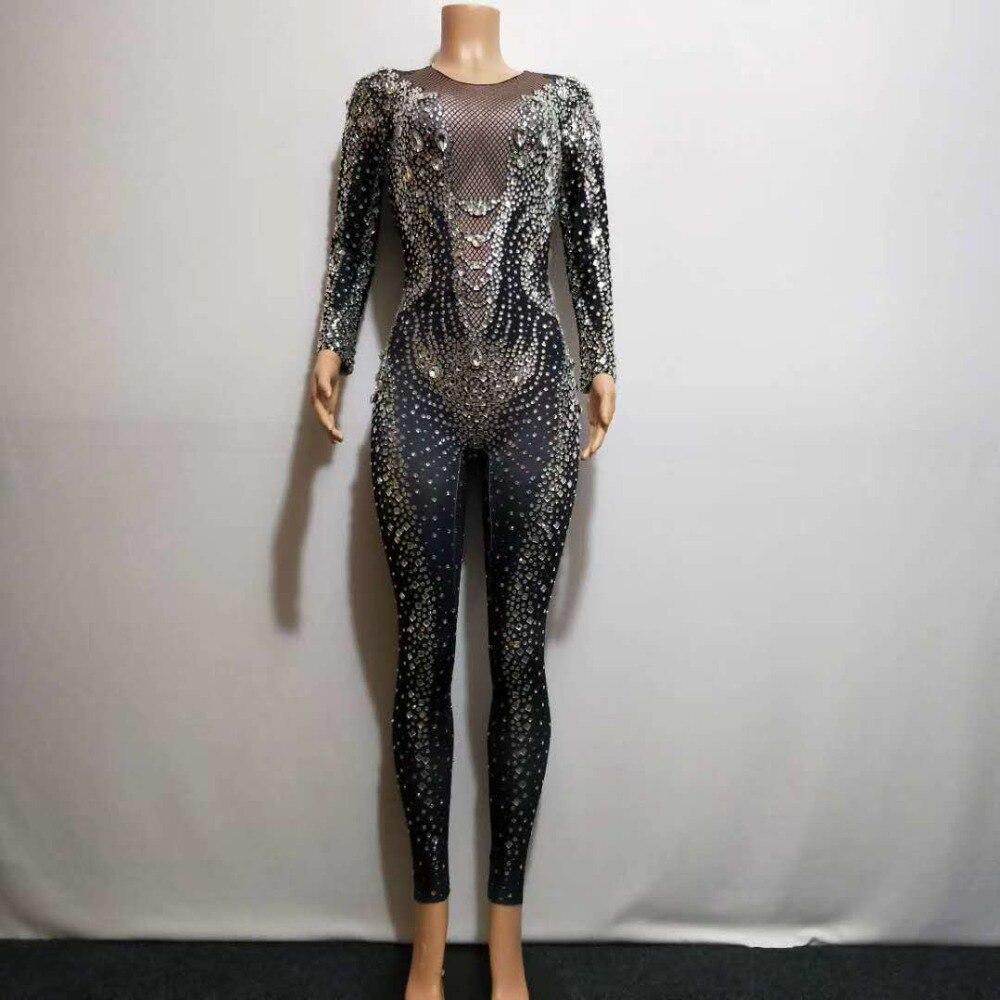2020 Black Rhinestones Pearls Jumpsuit Bar Dance Clothing Stretch Bodysuit Leggings Nightclub Female Singer Show Costume Outfit