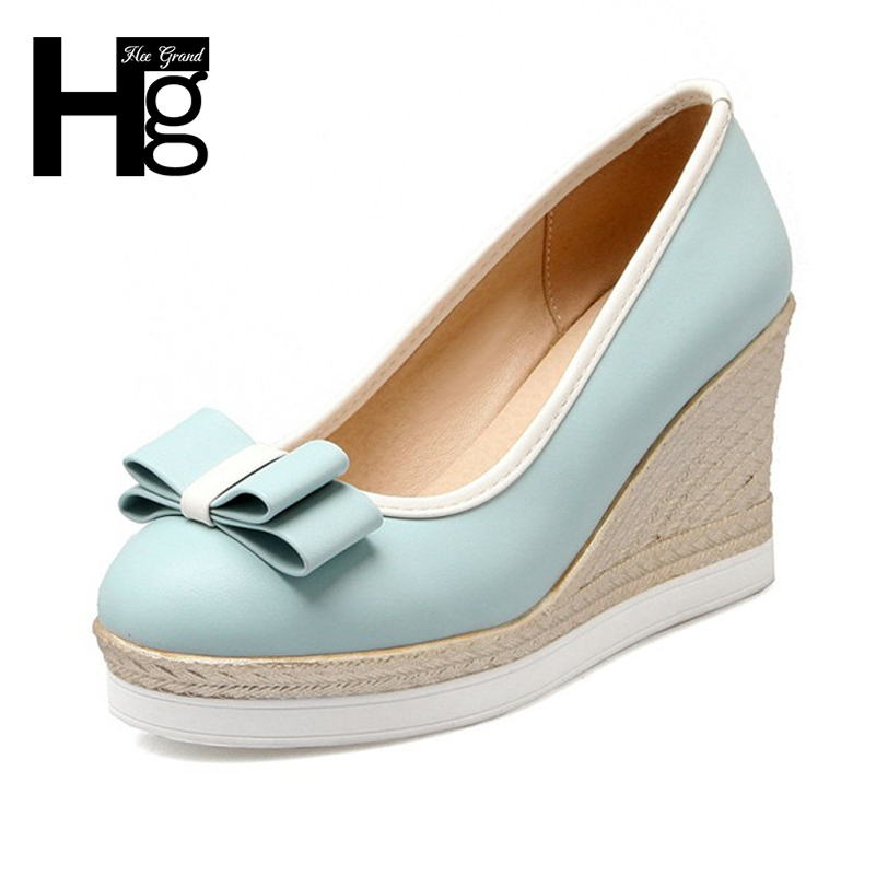 HEE GRAND Women's Pumps Wedge Platform Cute Butterfly-knot Shoes Woman High Heels Closed Toe Shoes for Work Ladies WXG437 2017 women pumps wedding shoes woman butterfly knot bridal shoes rhinestone lace ladies shoes high heels platform size 34 41
