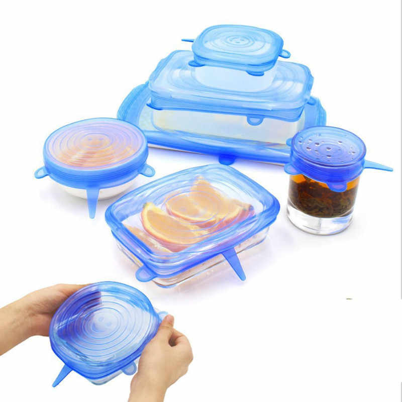 Blue 6pcs Set Bowl Stretch Silicone Lids  Plastic Wrap Cover  Microwave Refrigerator Fresh Keeping  Bowl Seal Kitchen Supplies