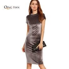 QING TIAN 4 Colors Women Velvet Sheath Dresses 2017 Spring Ladies O Neck Short Sleeve Knee