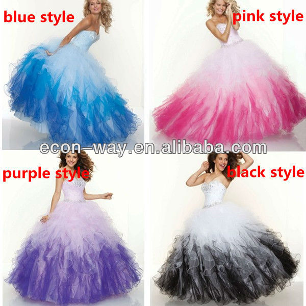 2013 new style sweetheart pink black rainbow puffy prom dresses-in ...