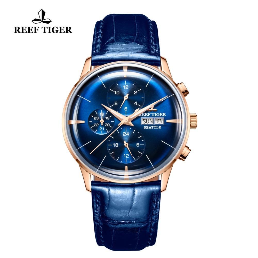 2018 Reef Tiger/RT Luxury Brand Men Watch Waterproof Function Automatic Watches All Blue Leather Strap Relogio Masculino RGA1699 2018 reef tiger rt top brand sport watch for men luxury blue watches leather strap waterproof watch relogio masculino rga3363