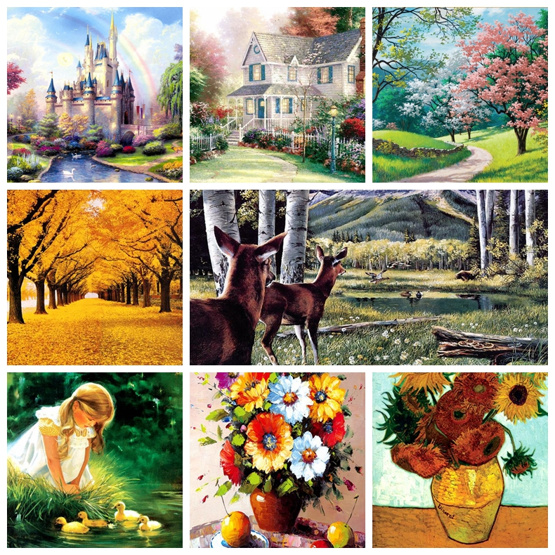 1000 Pieces 50CM*75CM Famous Painting Old Master Landscape Natural Scenery Paper Puzzles For Adult DIY Jigsaw Puzzle Toys