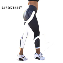 CHRLEISURE Print Leggings Fitness Legging Geometric honeycomb digital printing high waist Hip breathable polyester Women Legging