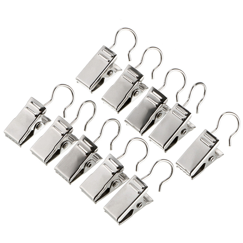 10Pc Silver Heavy Duty Curtain Clips Metal Curtain Curtain Accessorie Buckle
