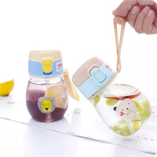 Summer Kids Water Bottle With Straw Portable Rope Leak Proof Cute Cartoon Baby Learning Drinking Tritan Sippy Cup 350ml