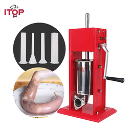 ITOP Red 3L Manual Sausage Stuffer Filler, Meat Filling Maker Machine Stainless Steel Kitchen Tools Two Speeds Meat Processors