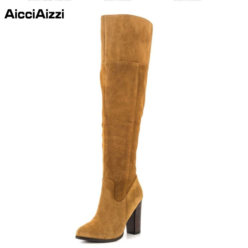 ФОТО Size 30-45 Sexy Women Real Leather Over Knee Boots High Heels Shoes Fashion Female Platform Shoes Autumn Winter Boots