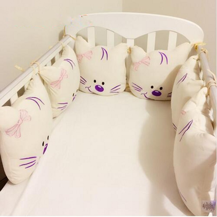 6pcs/Set Soft Plush Infant Baby Bed Around Protection Bumper Backrest Cushion Crib Bumper Cute Cat Baby Bed Bumper 1pcs bumper only fashion hot crib bumper infant bed baby bed bumper grey stars safe protection for baby use infant cradle guard