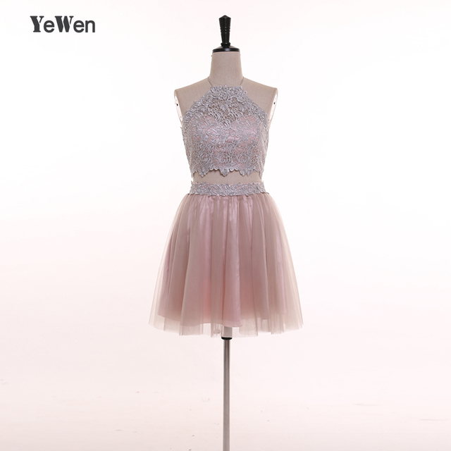 YeWen Prom Dress Short Halter Backless Party Special Occasion ...
