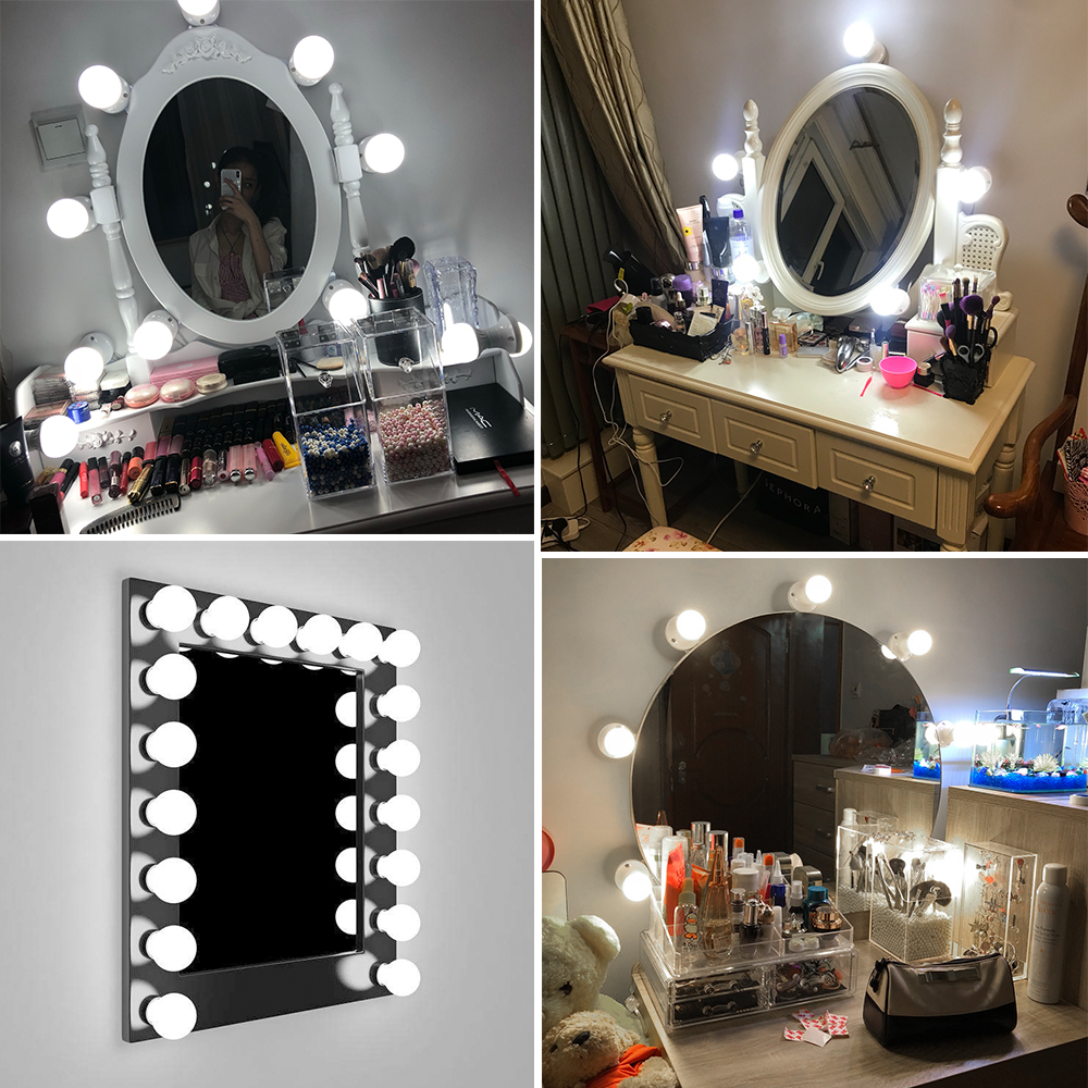 CanLing LED 12V Makeup Mirror Light Bulb Hollywood Vanity Lights Stepless Dimmable Wall Lamp 6 10 14Bulbs Kit for Dressing Table 6
