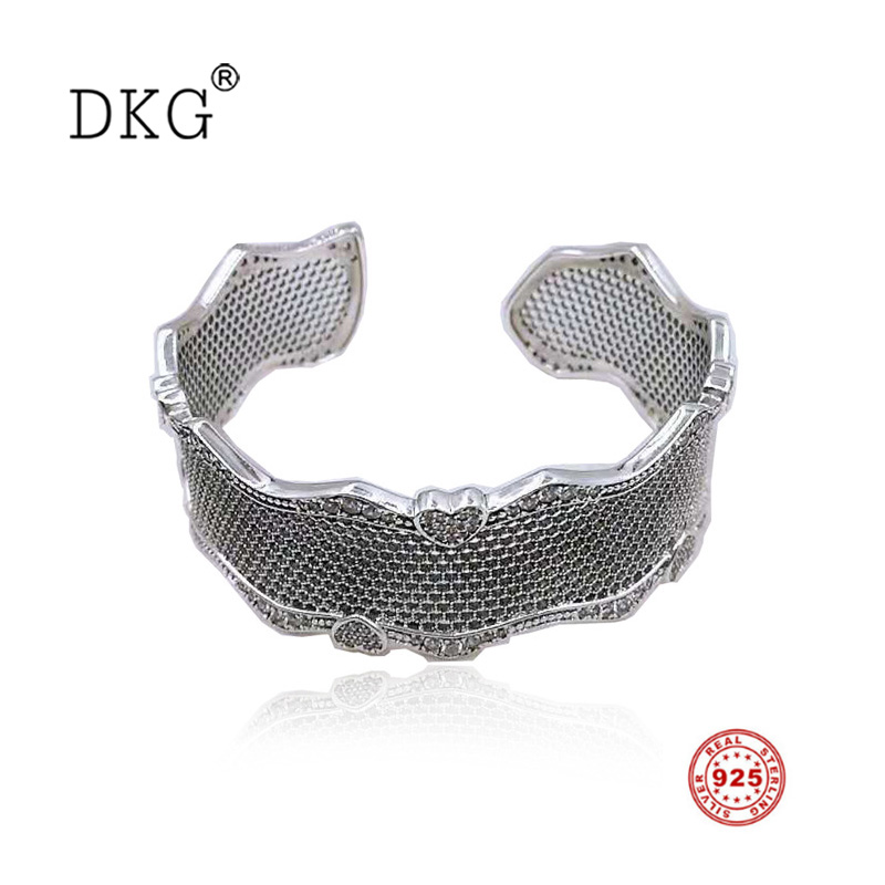 Authentic New Real 925 Sterling Silver Honeycomb Lace of Love Bangle Fit for Women Basic Bracelet