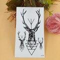 Temporária Tatuagens Transferência de Água Tatuagens Falsas Mulheres Homens Black Elk Cervos Tattos Adesivos À Prova D' Água Chifre Chifres Dólares Tatuagem