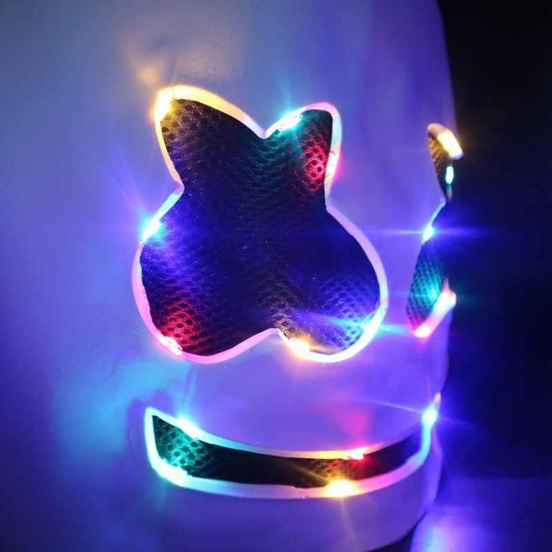 DJ музыкальный фестиваль светодиодный Светящийся Шлем маска для косплея Хэллоуин вечерние латексные маски Зефир маска