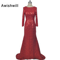 Реальный образец Русалка платье для выпускного вечера 2018 Bling установлены открытой спиной с длинным рукавом блесток вечерние платья арабски
