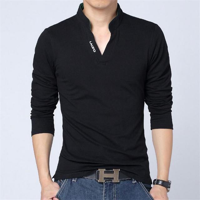Nueva moda 2017 marca polo camisa de los hombres sólidos de manga larga con cuello en v slim fit camisa casual camisa masculina camisas de polo de algodón tamaño 4xl 5XL