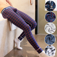 Brand Men Long Johns Mens Warm Pants Thin Elastic Line Of Men S Fashion Cotton Print