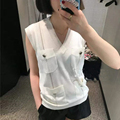 Fashion Sweater New 2017 Summer Women High Quality Sexy V-Neck Classic White Sleeveless Knitting Elegant Tops