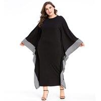 Muslim Abaya Women Long Sleeve Maxi Dress Autumn Plaid Wide Cuff Ruffles UAE Dubai Arabic Kaftan Islamic Robe Gowns Black