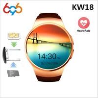 696 KW18 Bluetooth Smart Uhr Voll Abgerundete Android/IOS Reloj Inteligente SIM Karte Herz Rate Monitor Uhr Uhr Mic anti verloren