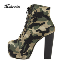 MAIERNISI Women Camouflage Boot Female Military Boots With Cross Straps Womens Shoes 4.5cm Waterproof Platform
