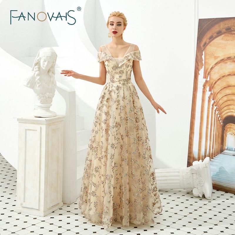 Golden Shinning Glitter Prom Dresses Vestidos De Fiesta Largos Elegantes De Gala 2019 Robe De Soiree Evening Dresses Formal