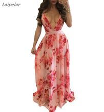 Yellow Flower Print Spicy Beach Dress For Women Lace-Backed Floor-Length Summer Dress Deep V-Neck Sleeveless Chiffon Robe цена
