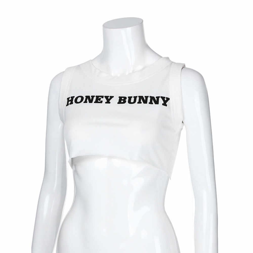 Летняя модная женская майка с надписью «Honey bunny'», с круглым вырезом, сексуальный жилет, укороченные женские топы, рубашка, Повседневная футболка без рукавов, женская блуза
