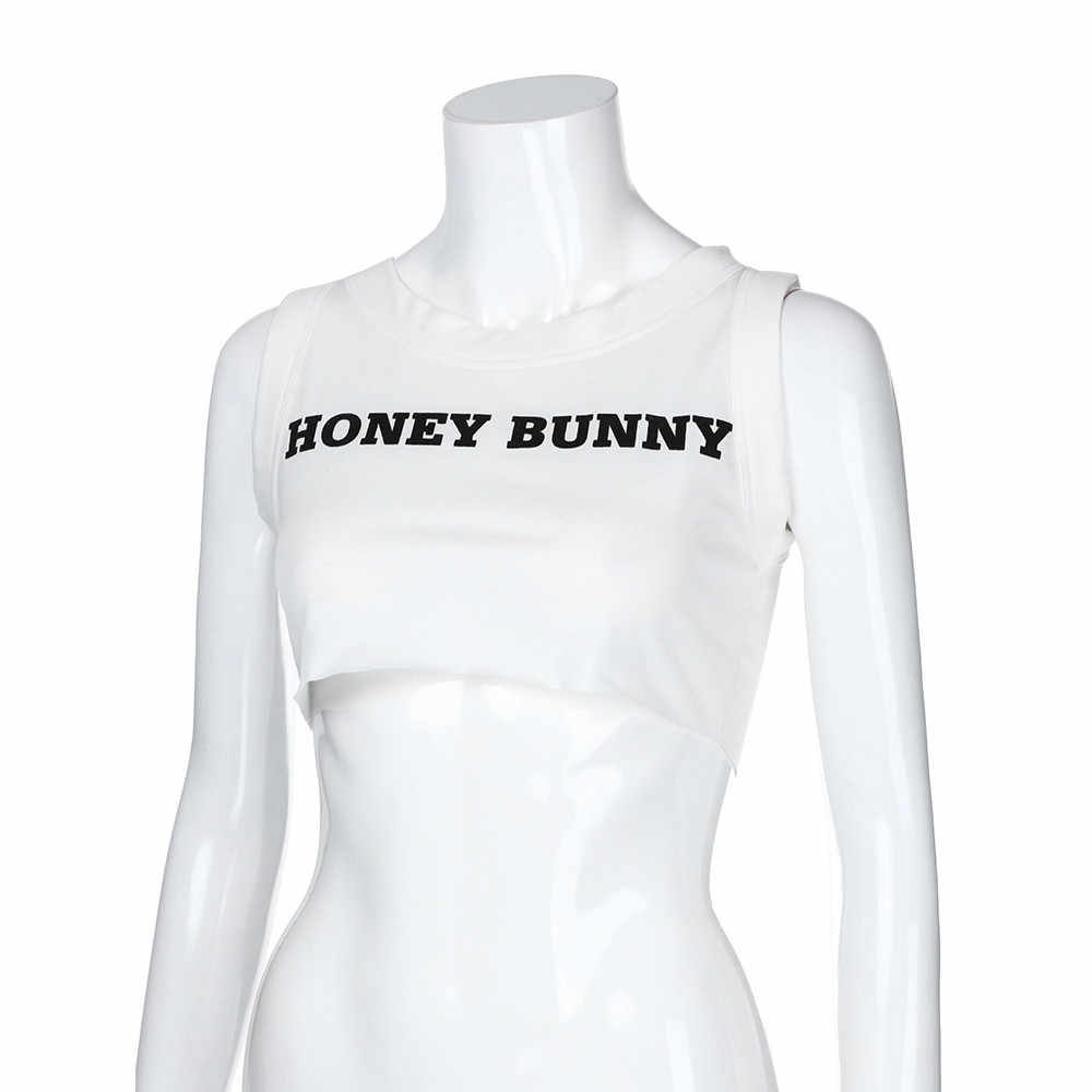 Summer Fashion Women 'honey bunny' Letter Print O-Neck Sexy Vest Crop Tops Ladies Shirt Casual Sleeveless Tee Shirt Female Blus