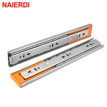 NAIERDI 10-22 Stainless Steel Cabinet Slides Soft Close Three-Section Drawer Rails Drawer Slides Buffer Damper Rails Hardware 1 pair 2pcs stainless steel drawer slides 12 22 inch silent buffer damping slide kitchen cabinet drawer rails 3 section 30 55
