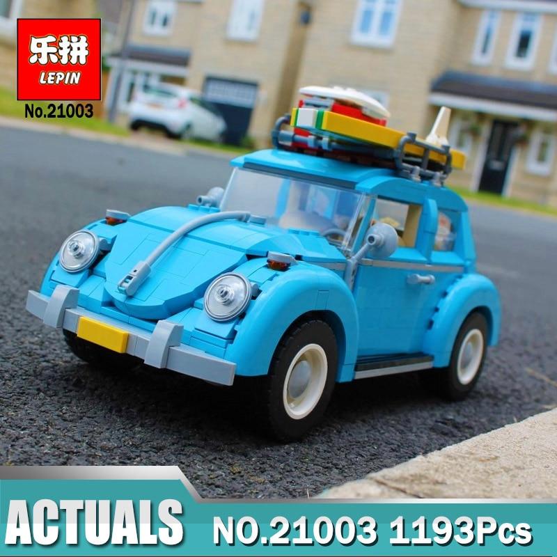 New LEPIN 21003 Creator Series City Car Beetle model Building Blocks Compatible Legoings 10252 Blue Technic Children toy gift 2018 lepin 21003 technic series city car beetle model educational building blocks compatible legoing 10252 toy as children gift