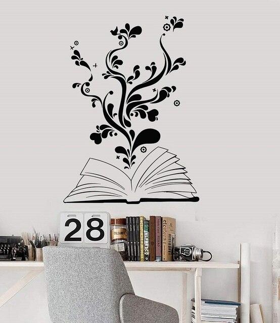 חוכמת עץ ויניל קיר מדבקת ספריית בית הספר בכיתה מחקר חדר שינה בית תפאורה אמנות קיר מדבקת YD14