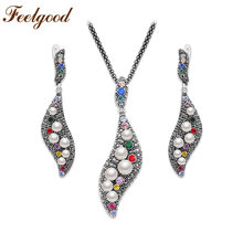 Feelgood Vintage Silver Color Jewelry Set Multicolor Crystal And Imitaion Pearl Necklace And Earrings Set For Women Ladies Gift(China)