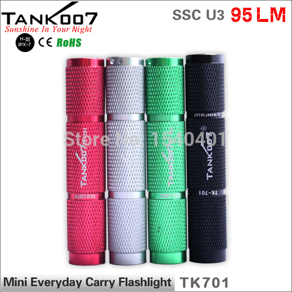 TANK007 TK701 90Lumen cree u3 zoom 1-mode edc Black Mini LED Pocket flashlight torch usb charge Light 1*AAA