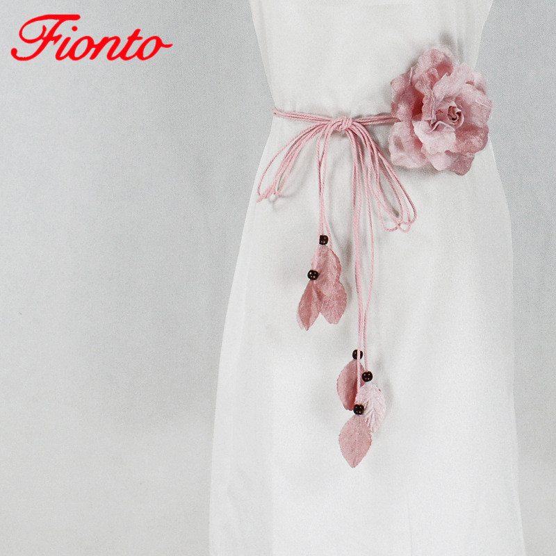 Casual Wild Chiffon Big Flower Ladies Thin Belt Sweet Knotted Waist Chain Korean Long Tassel Decorative Skirt Belts AN1079
