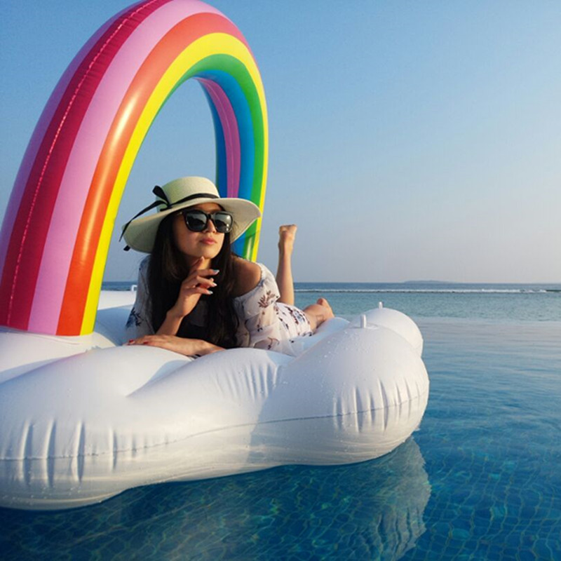 240cm 94 Inch Swimming Pool Giant Inflatable Rainbow Island Pool Float In Water Floatig Island Air Mattress Beach Fun Toys giant pool float shells inflatable in water floating row pearl ball scallop aqua loungers floating air mattress donuts swim ring