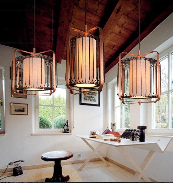 Chinese Style Iron Bird Cage Pendant Lamp Loft Vintage Led Alloy Cloth Light Hanging