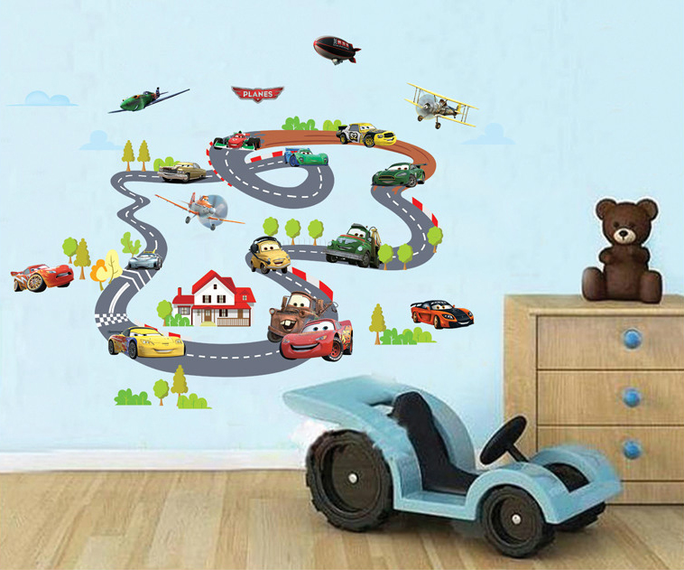 pixar cars pared pegatinas de carreras de dibujos animados juegos de coches home decor boy para