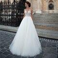 Sexy Sem Mangas Branco Tulle Vestidos de Casamento Apliques de Charme Cristal A-Line do Assoalho-Comprimento Vestidos de Novia