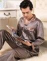 Los hombres de Satén de Seda Sexy ropa de Dormir Pijamas Pijamas manga Larga Para Hombre de lujo de Los Hombres Conjuntos salón Pijama Más El Tamaño 3XL