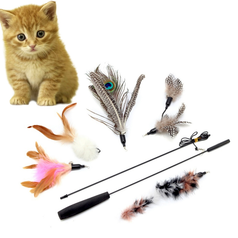 New Lovely Fun Pets Stick Toys Cats Toys 5pcs Feather Wand Rod For Cat Catcher Teaser Toy For Pet Kitten Jumping Trainning CN12