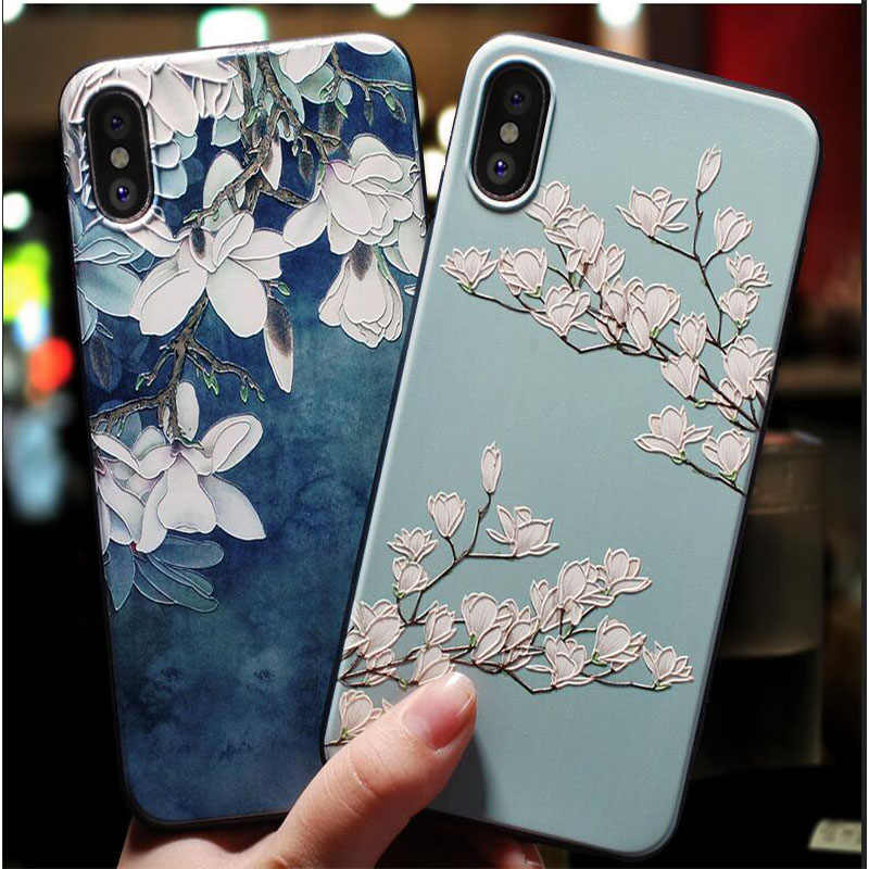 Cute 3D Emboss Flower Phone Case For iphone X XS Max XR 10 8 7 6 6S Plus Case Soft Silicon Cover For iPhone8 5 5S SE 8Plus Coque