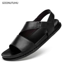 2019 new men's sandals genuine leather fashion casual shoes summer sandal men cow leather shoes breathable beach sandals for men все цены