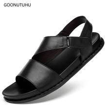 2019 new men's sandals genuine leather fashion casual shoes summer sandal men cow leather shoes breathable beach sandals for men