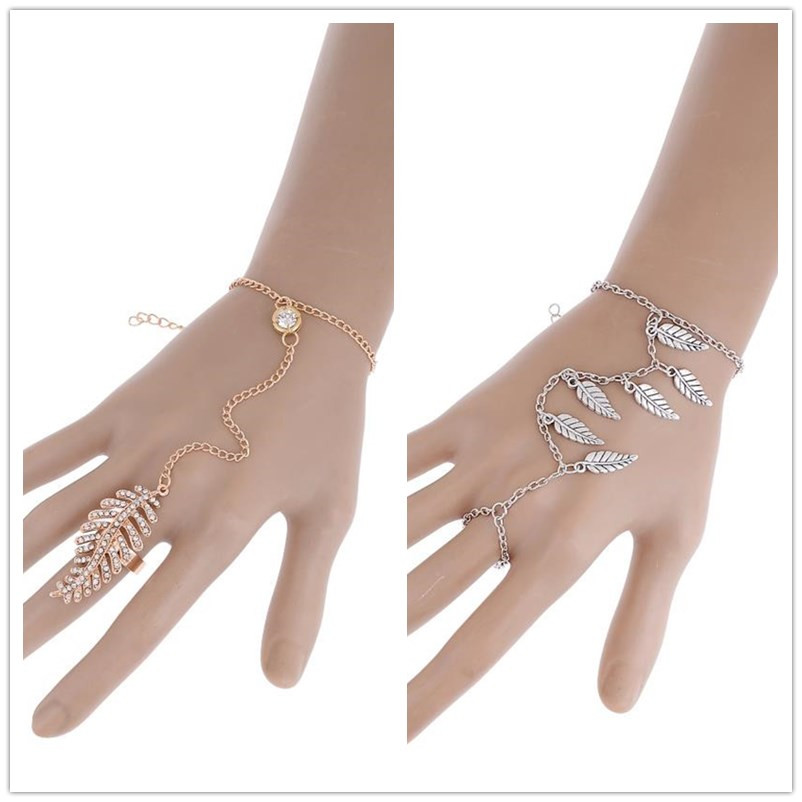 New Design GoldSilver Color 2 Style Bracelets for Women Link Chain Finger Wrist Bracelets & Bangles Summer Fashion Jewelry