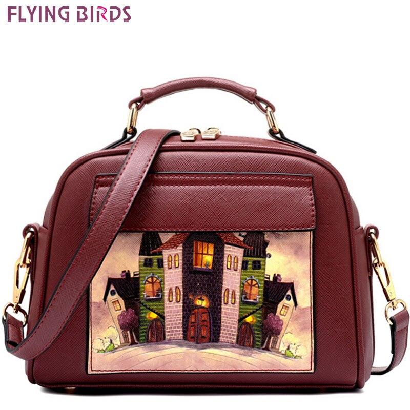 Летящие птицы женская сумка Женщины кожаная сумочка Марка Сумка сумки BOLSOS европейский и американский стиль кошелек LS8235fb