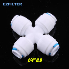 Equal 1/4 Union Quick Connect Fittings Cross Four Way Adapter For Water Purifier