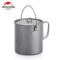 Naturehike 1300ml 800ml Ultralight Outdoor Camping Titanium Pot & pan Cooking Pot fry pan Titamium Cookware Sets Pot