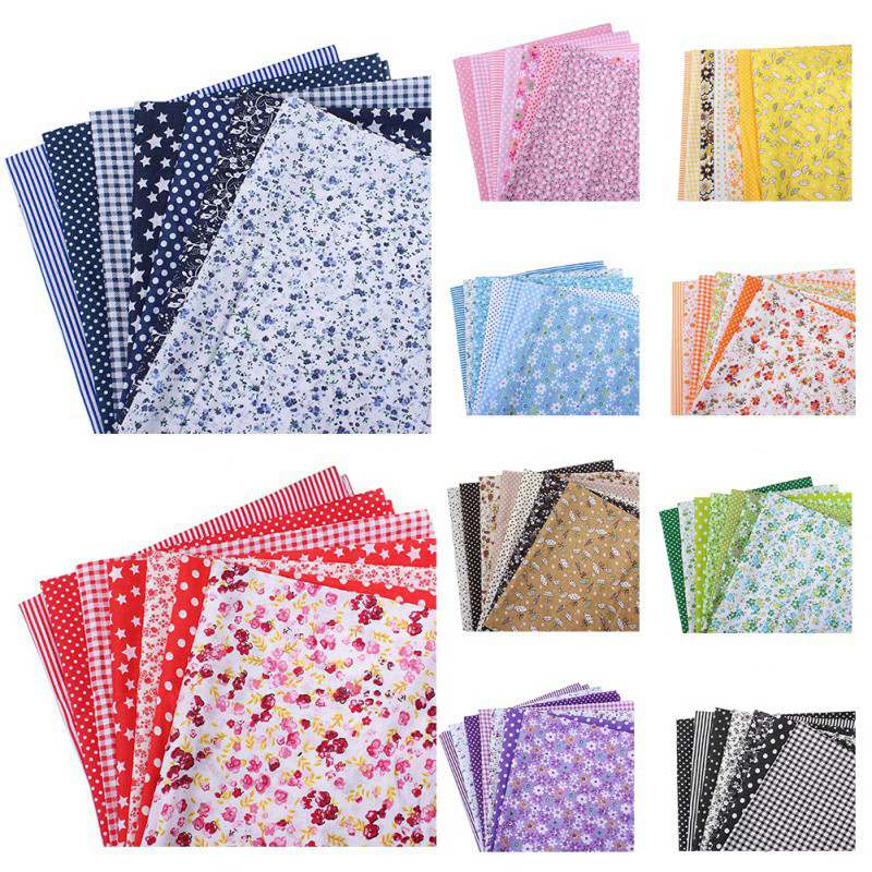 7PCS DIY Square Floral Cotton Fabric Patchwork Cloth For Craft Sewing 50x50cm