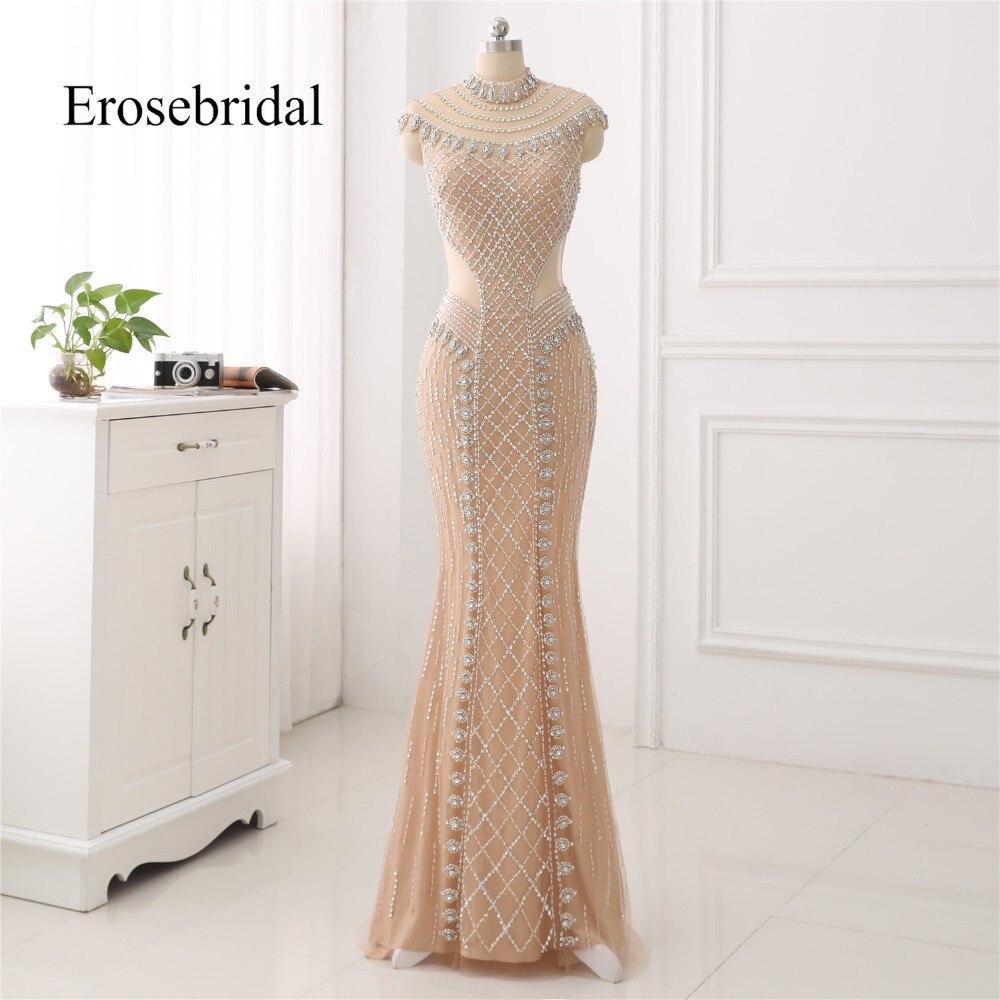 Col haut 2018 Sirène robe de soirée Perlée Longue robe de soirée Sexy Perles Illusion Retour robe de soirée en stock